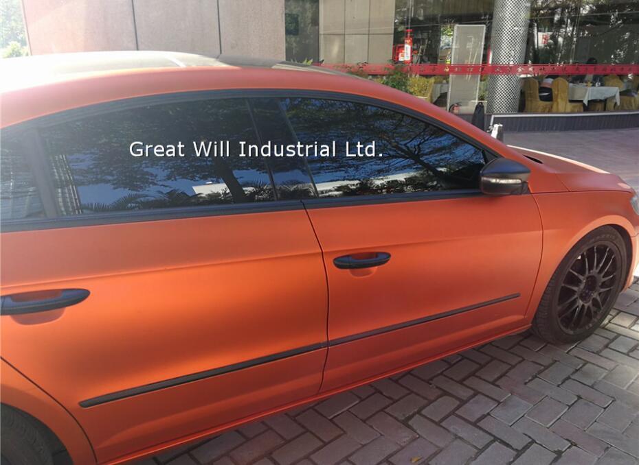 Ice Satin Хромовая виниловая пленка для обертывания воздуха, Матовый Металлик, хромированное покрытие для автомобиля, наклейка для автомобиля, фольга 1,52*20 м/рулон/5ftx67ft - Название цвета: orange