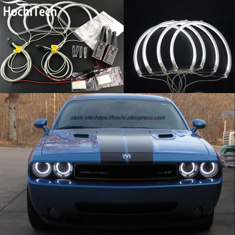 HochiTech ccfl angel eyes kit white 6000k ccfl halo rings headlight for Dodge challenger  2008 2009 2010 2011 2012 2013 2014 for uaz patriot ccfl angel eyes rings kit non projector halo rings car eyes free shipping