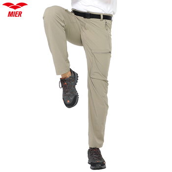 MIER Men's Stretch Cargo Pants Lightweight Nylon Hiking Pants, Quick Dry & Water Resistant, 5 Zipper Pockets