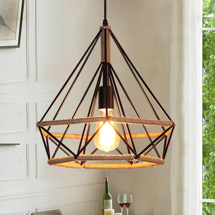 American country industrial hemp retro wind Iron Pendant Lights diamond cage creative loft bar restaurant Pendant Lamps 38/45CM restaurant bar cafe pendant lights retro hone lighting lamp industrial wind black cage loft iron lanterns pendant lamps za10