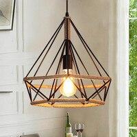 American country industrial hemp retro wind Iron Pendant Lights diamond cage creative loft bar restaurant Pendant Lamps 38/45CM