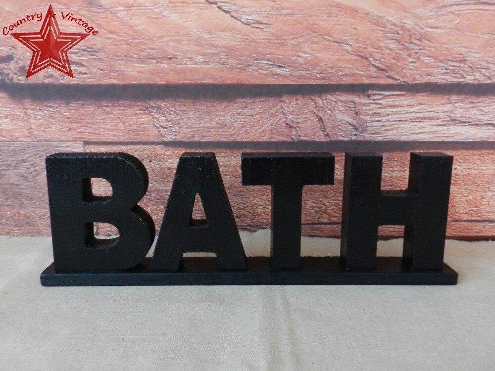 """Black Wooden Words Sign Free Standing /""""Bath/"""" Bathroom//Home Wall//Door Decor Art"""
