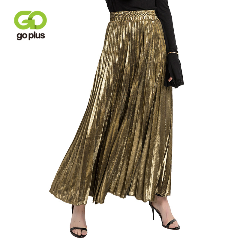 GOPLUS 2019 Spring Fashion Pleated Tulle Skirt Women Metallic Gold High Waist Long Skirt Female Elegant Befree Boho Midi Skirt