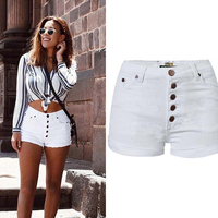 Olrain2017 Europe And The United States Summer Women S Pure White High Waist Slim Stretch Buckle
