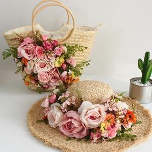 Ręcznie robione kwiaty torby słomiane kobiety dorywczo torby plażowe damskie lato Vintage Knitting splot torebki torba plażowa wakacje Tote + kapelusz słońce