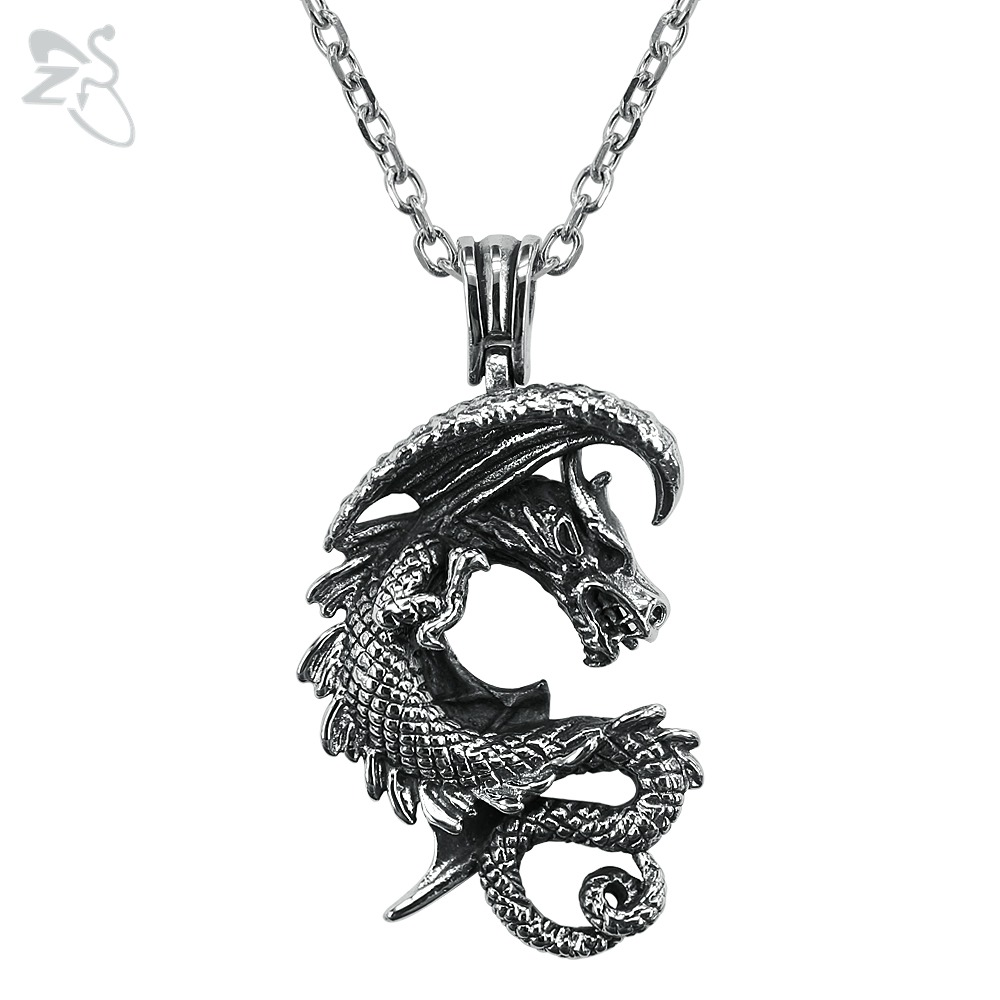 Cool Dragon Necklace Silver Pendants Collar Men's Boys Jewellry Vintage For Women Choker Ancient Animal Chain Necklaces Collana