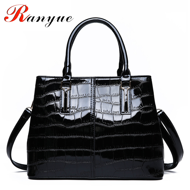 RANYUE Stone Luxury Handbags Women Bags Designer Bright Solid Patent  Leather Tote Bags Woman Shoulder Bags 7be652e57586a