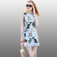 Fowice High Quality 2017 New Summer Fashion Cats And Letters Print Sleeveless Cute Mini Dress High