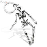 Keychain For Men Personalized Skull Keychains For Couples Fashion Foldable Skeleton Key Chains Key Rings Bag Charm Gifts