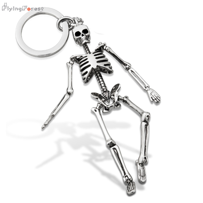 Skull Keychain For Men Personalized Car Keychains For Couples Fashion Foldable Skeleton Key Chains Key Rings Bag Charm Gifts