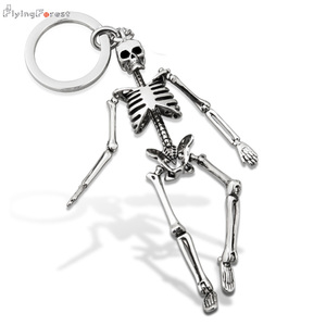 Keychain For Men Metal alloy Skull Keychains For Couples Fashion Foldable Skeleton Key Chains Key Rings Bag Charm Gifts(China)