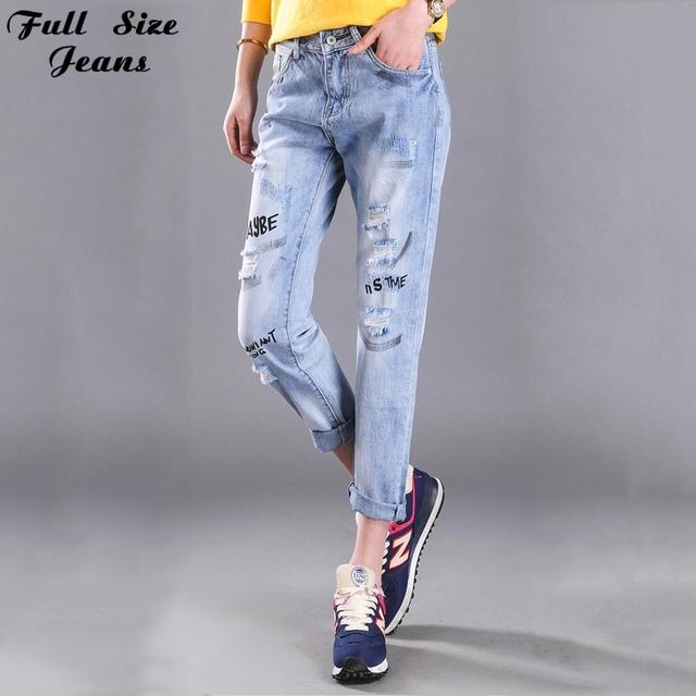 Novos Jeans Mulheres Plus Size Carta Imprimir Boyfriend Solto Rasgado calças de brim Harém Capris Broeken Jean Denim Superdimensionada Jeans 6XL XS 4XL