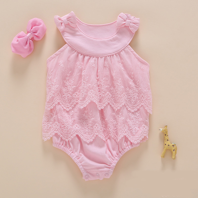 Baby Girl Princess Bodysuits 2st / set 0-2Years Kids Summer Nyfött Baby Body Girl Roupas Spädbarn Jumpsuit Allmänt Cotton Clothing