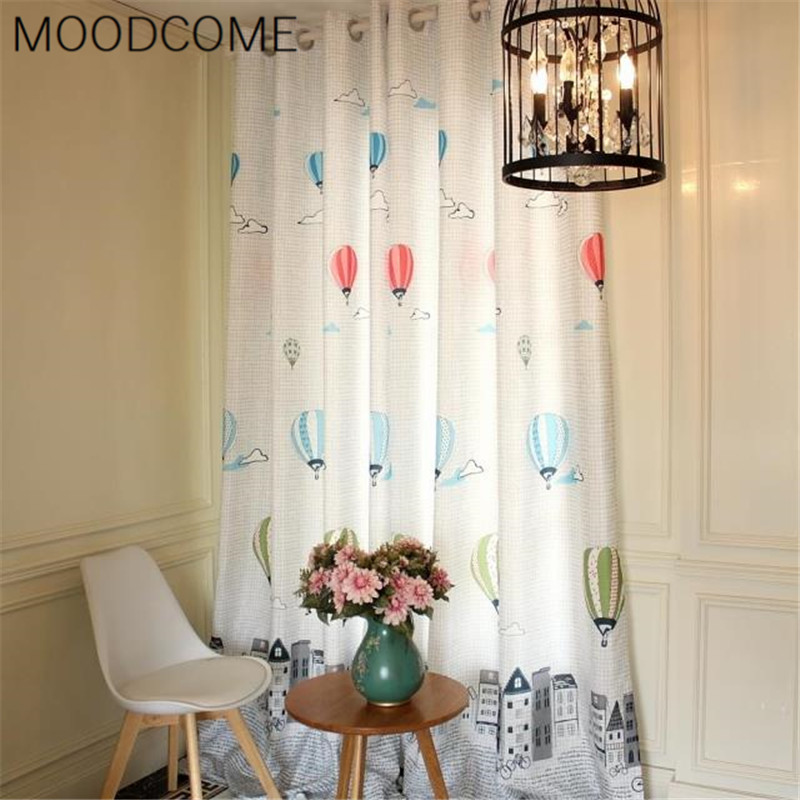 Buy fresh pastoral printing finished semi shade curtain screens children for Balloon curtains for living room