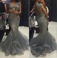 Luxo 2016 Sereia Vestidos Oco Voltar Tiered Ruffles Vestidos Formais Para Festa de Casamento Comunhão Plus Size chri