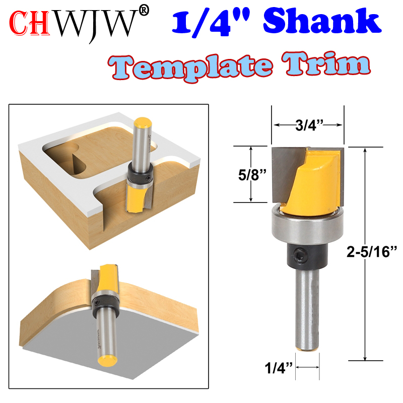 1 pc 1/4 Shank Template Trim Router Bit - Bottom Cleaning 3/4W X 5/8H Woodworking cutter Tenon Cutter for Woodworking Tools 1pc extra long flush trim router bit 1 4 shank x 3 8 cutting diameter x 2 height for woodworking milling cutter