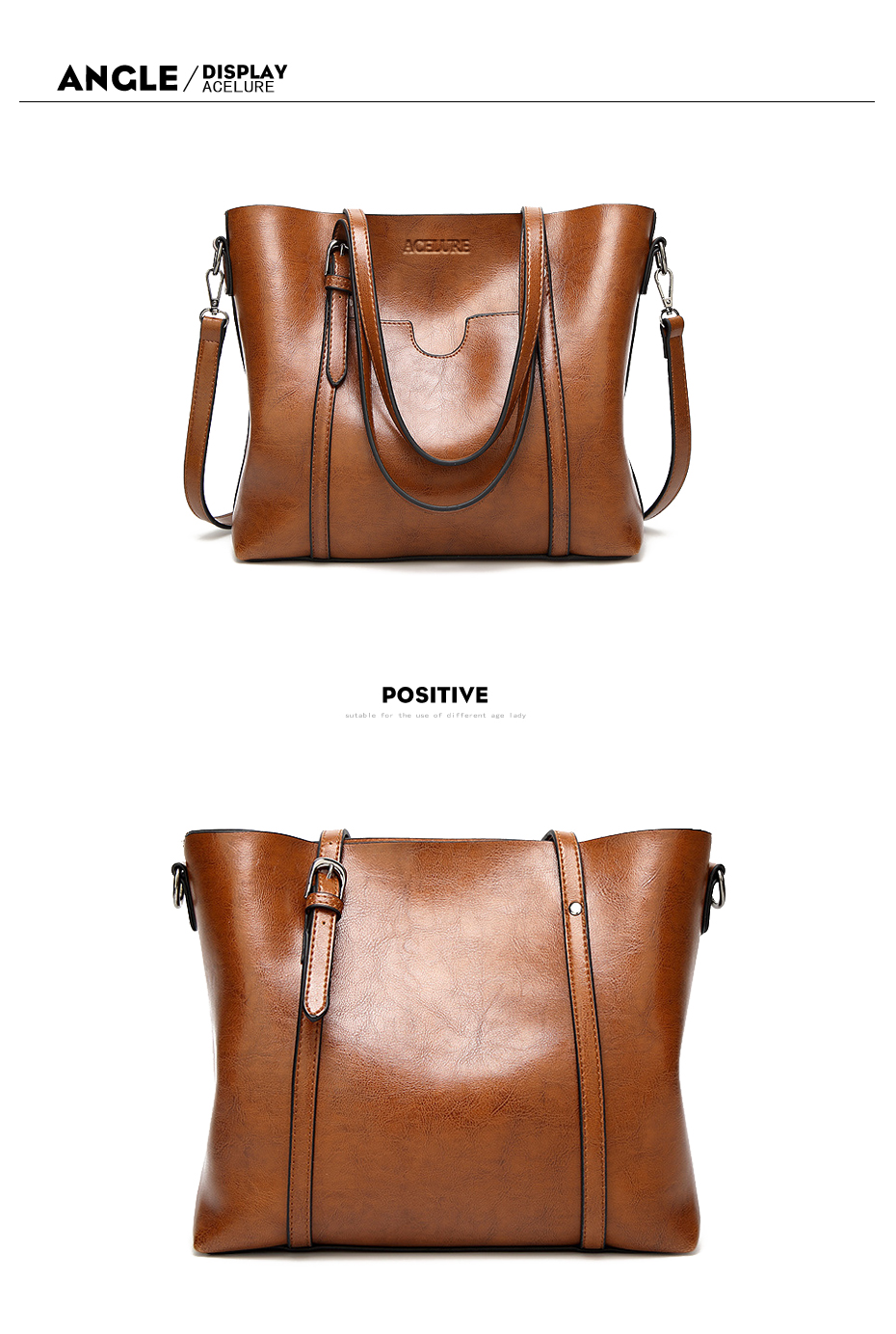 ACELURE Women bag Oil wax Women's Leather Handbags Luxury Lady Hand Bags With Purse Pocket Women messenger bag Big Tote Sac Bols 7