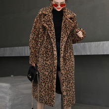 Female Winter New Turn Down Collar Long Faux Fur Coat Women Thick Warm Flocking Fur Jacket Fashion Leopard Plus Size Parka Z1009(China)