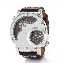 Gran estilo y tendencia Peculiar Personalidad Dail Reloj! 3 Colores Cuarzo y Banda de Cuero Hombre Moda casual Hombres Relojes de Pulsera HP9591