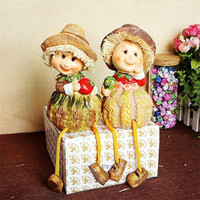1Pair Natural Resin Home Decor Doll Craft Babi Longleg Couple Doll Take Hats Miniatures for Kids Girl Boy Toy Gift Accessories