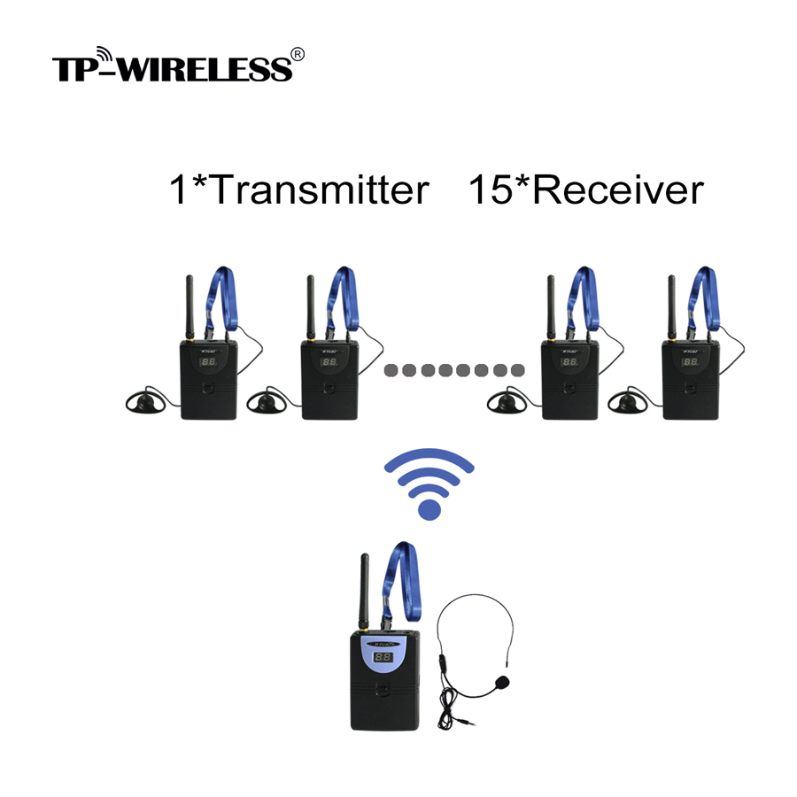 TP-Wireless 2.4GHz Frequency Band Digital Wireless Tour Guide System,Simultaneous Translation System 1transmitter 15receivers