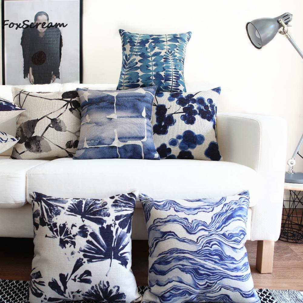 Blue Decorative Bed Pillows - Blue couch pillows