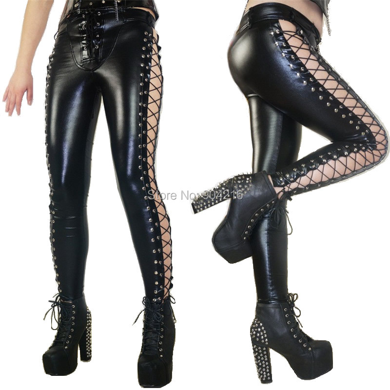 2017 New WomenLong Pants Laced Up Punk Rock Leggings Heavy Metal Two Side Studded Faux Leather Pants Sexy Free Shipping