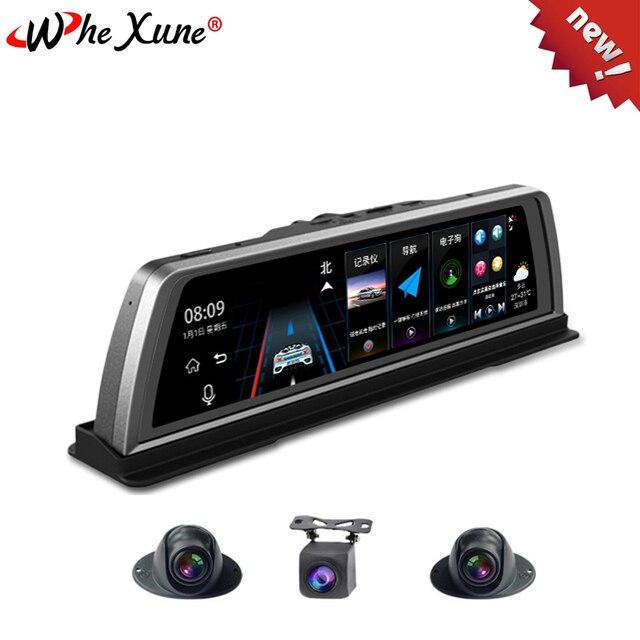 """WHEXUNE Dashcam DVR para coche 4G, 4 canales, ADAS, Android 10 """", consola central, espejo, GPS, WiFi, FHD, 2020 P, lente trasera, grabadora de vídeo, novedad de 1080"""