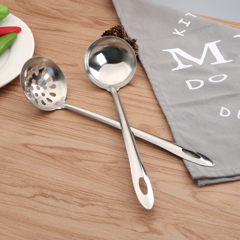 Stainless steel soup spoon kitchen ladle hot pot ladle large soup shell long handle ladle two piece cooking tool set ladle in Colanders Strainers from Home Garden
