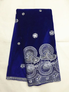 5yards/pc Fashion royal blue velveteen lace material african soft velvet lace fabric with silver sequins for clothes JV12-2