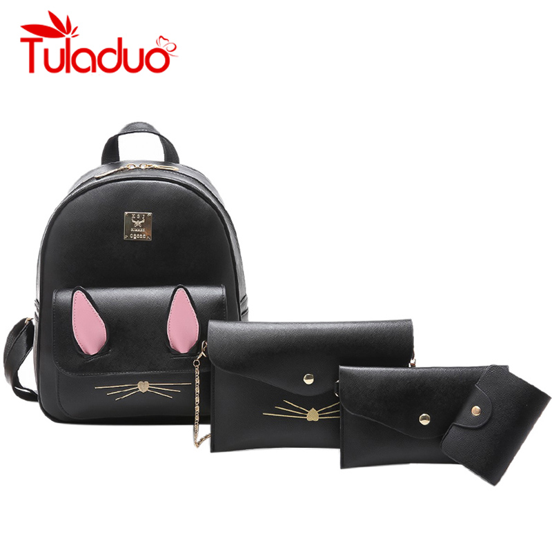 New Composite Bag PU Leather Backpack Women Cat Cute 4 Sets Bag School Backpacks For Teenage Girls Black Bags Letter Sac A Dos new sailor moon black pu leather backpack women shoulder rucksack 2016 school bags for teenage girls brand sac a dos femme