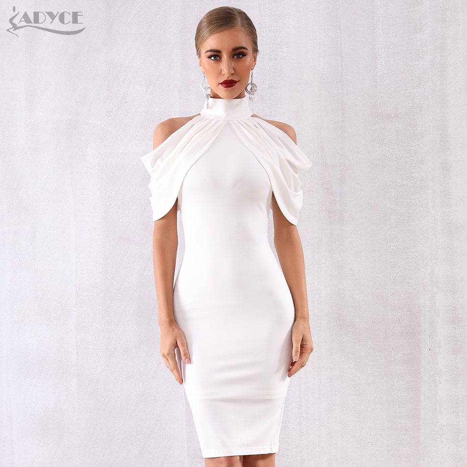 Adyce 2020 New Summer Celebrity Evening Party Dress Women Elegant White Off Shoulder Sexy Draped Halter Bodycon Midi Club Dress