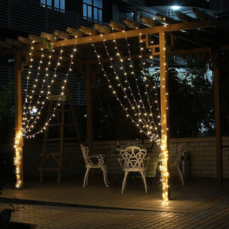 4.5 m x 3 m 300 LED Icicle LED cortina de hadas luz 300 bombilla Navidad Jardín de la boda decoración guirnalda fiesta caliente