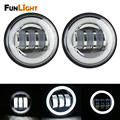 1 Pair 4.5 Inch 30W  LED Fog Lights Daymaker Passing Auxiliary Lamp With DRL for Harley Davidson Motorcycle