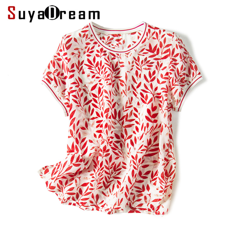 Women Blouse 100% REAL SILK Crepe Red Print Blouse Shirt  O Neck 2019 Spring Summer Short Sleeved Shirt