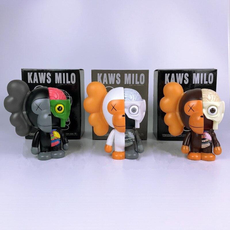 1pc/lot OriginalFake KAWS MILO Action Figures Toys KAWS TOY Collection Model Kids Toy Grey/Brown/Black Anatomy With Box 18cm