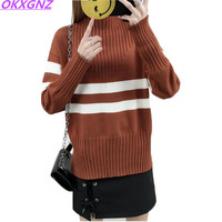 Female Autumn Winter Sweaters Knitted Pullover Half height Collar Sweater Women Long Sleeve Stripes Loose Women Sweater OKXGNZ
