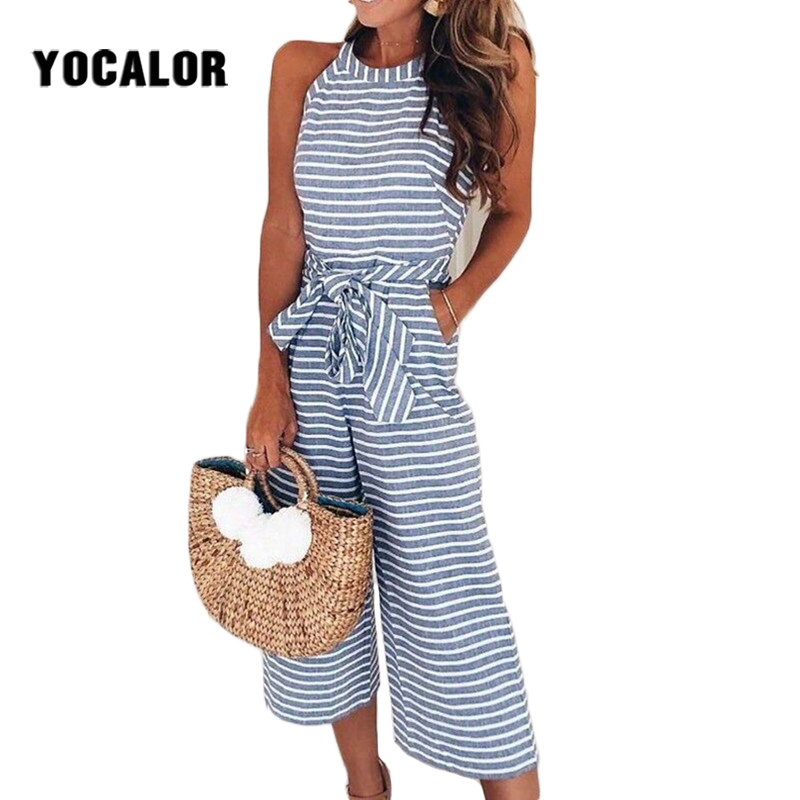 Summer Cotton Striped Bow Bandage Sleeveless   Jumpsuit   Romper Kombinezony For Women Combine   Jumpsuits   Overal Beachwear Bohemian