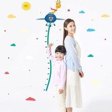 SK7034 Cartoon jungle animals giraffe children height measure wall stickers for kids room sticker home decoration