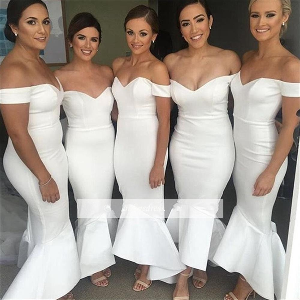 Hi Low 2019 Cheap   Bridesmaid     Dresses   Under 50 Sheath Off The Shoulder Backless Short Wedding Party   Dresses   For Women
