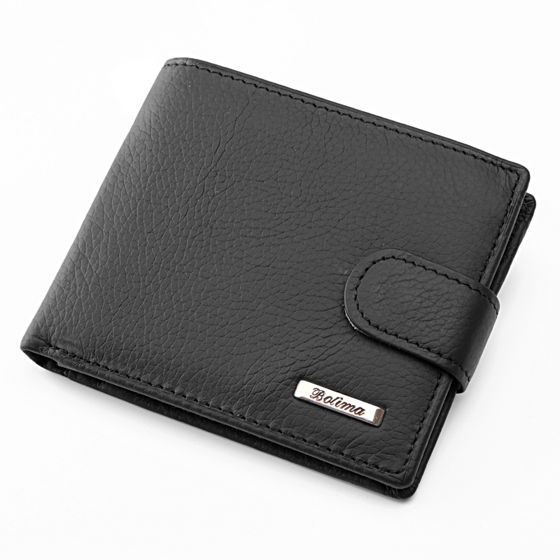 100 Real Cowhide Leather Wallet Men Coin Pocket Purse Carteira Masculina Brand Wallet Male Trifold Black