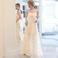 Prom Dress White Sleeveless Vestidos De Gala Sexy Lace Women Party Night Dresses 2019 Plus Size Sling Boat Neck Prom Gowns E684