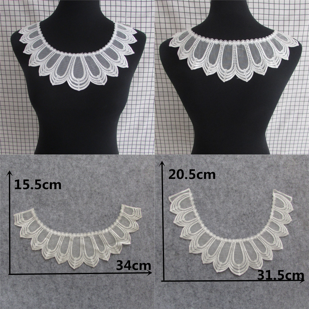 fashion style beautiful Fabric Flower Lace Sewing Applique Lace Collar Neckline Collar DIY Accessory a pair sale front and back