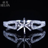 HELON Round Cut 6mm Semi Mount Engagement Wedding Ring Women Jewelry Solid 14k White Gold Pave