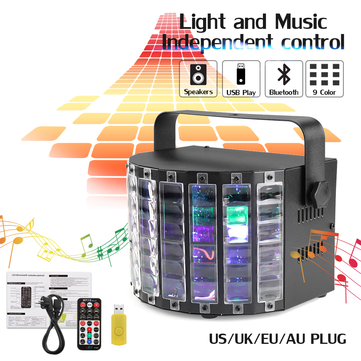 LED DJ Stage Lighting Effect Light Voice/Remote Controller RGB 9 Color Disco Lamp Sound Activated DJ Stage Light For World Cup