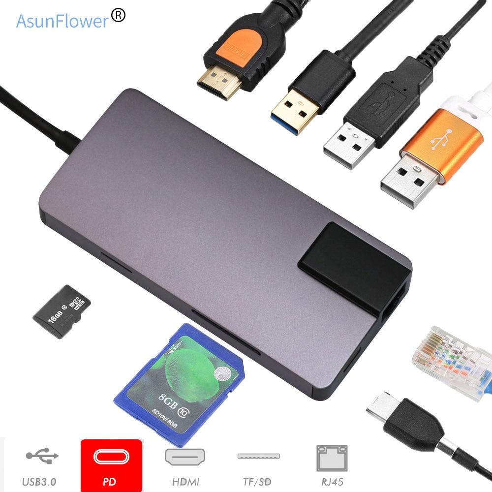 USB C концентратор type-C порты и разъёмы к HDMI адаптер для MacBook Pro 2017/2018 зарядка PD 3 USB 3,0 порты и разъёмы USB hub-разветвитель компьютер аксессуар