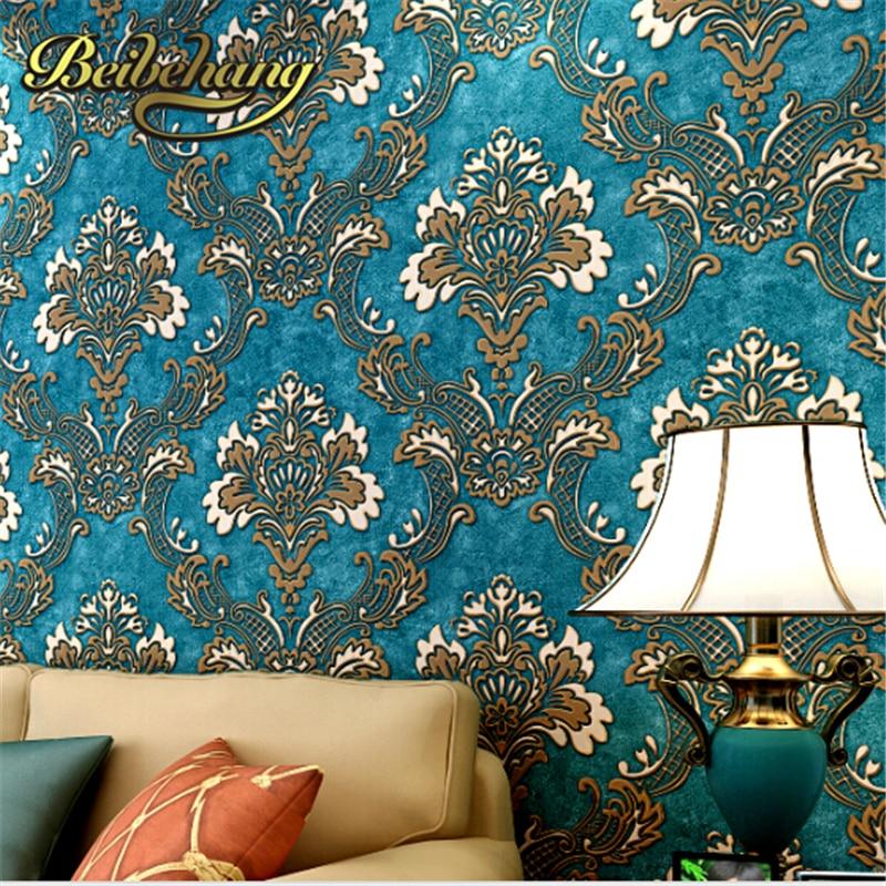 beibehang  papel de parede Continental thick non-woven Damascus 3D wallpaper living room bedroom TV back dropphoto wallpaper
