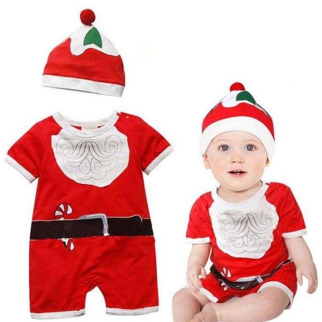 Abbigliamento per bambini Di Natale Delle Ragazze Dei Neonati Pagliaccetti  + Cappello Tuta Outfit Set Costumi 3b9927d5e3f