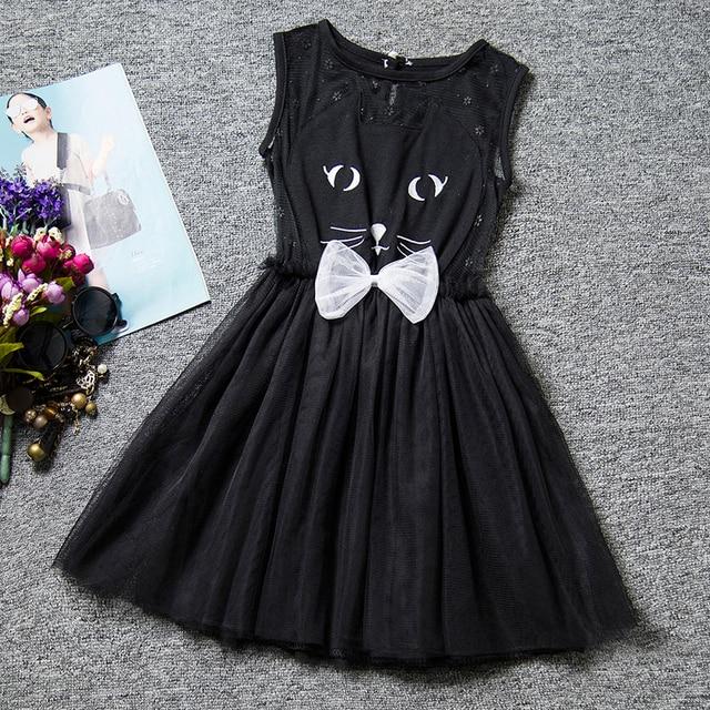482272e08 Bebé lindo del verano negro vestido para niña 6 años gato patrón Kids party  Tutu Vestidos