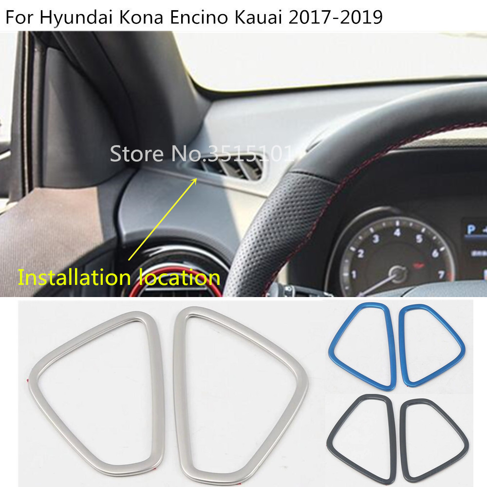 For Hyundai Kona Kauai Encino 2018 2019 Car Steering Wheel: Car Front Air Conditioning Outlet Vent Stainless Steel